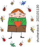 funny cartoon man with heart... | Shutterstock .eps vector #202101130