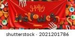 happy halloween. 3d vector... | Shutterstock .eps vector #2021201786