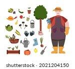 gardening set in hand drawn...   Shutterstock .eps vector #2021204150