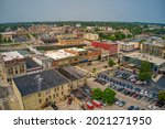 Aerial View of Downtown Janesville, Wisconsin during Summer