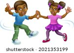 young black little girl and boy ... | Shutterstock .eps vector #2021353199