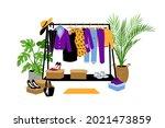 clothes hanger. cartoon store...   Shutterstock .eps vector #2021473859