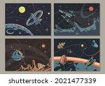 retro space illustration set ... | Shutterstock .eps vector #2021477339
