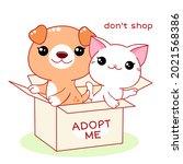 kawaii little cat and puppy in...   Shutterstock .eps vector #2021568386