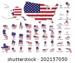 Highly detailed USA map with USA flag graphic, isolated statue's border.