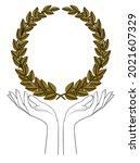 gold laurel wreath. woman...   Shutterstock .eps vector #2021607329