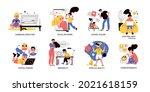 children gadget addiction... | Shutterstock .eps vector #2021618159