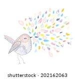 Bird And Watercolor Splash Car...