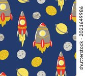 seamless space pattern with...   Shutterstock .eps vector #2021649986