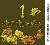 first day of autumn. postcard... | Shutterstock .eps vector #2021658086