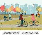 happy people enjoy the autumn... | Shutterstock .eps vector #2021661356