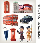 Famous London Sights And Retro...