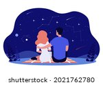 happy couple looking at starry... | Shutterstock .eps vector #2021762780