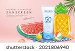 creative sunscreen ad in beach... | Shutterstock . vector #2021806940