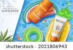 3d sunscreen ad template in...   Shutterstock . vector #2021806943