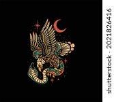 eagle tattoo illustration...   Shutterstock .eps vector #2021826416