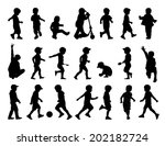 big set of black silhouettes of ... | Shutterstock . vector #202182724