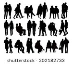 big set of black silhouettes of ... | Shutterstock . vector #202182733