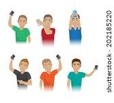 men taking a selfie   isolated... | Shutterstock .eps vector #202185220