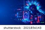 digital ai in image robot woman ... | Shutterstock .eps vector #2021856143