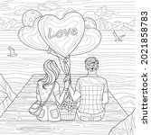 Couple of lovers on the seashore with balloons.Coloring book antistress for children and adults. Illustration isolated on white background.Zen-tangle style. Hand draw
