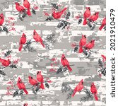 Red Birds Repeat Pattern Design....