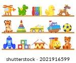 toys on shelves. toy store... | Shutterstock .eps vector #2021916599