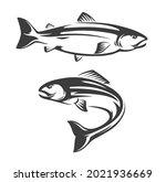 Salmon Fish Icon Of Seafood Or...