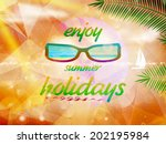 summer sky with sun wearing... | Shutterstock .eps vector #202195984