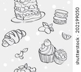 seamless pattern with cupcakes...   Shutterstock .eps vector #202199050