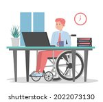 man in wheechair working in... | Shutterstock .eps vector #2022073130