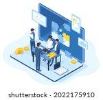 isometric teamwork ... | Shutterstock .eps vector #2022175910