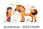equestrian person feeding horse ...   Shutterstock .eps vector #2022176690
