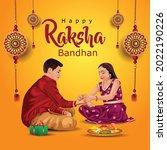 happy raksha bandhan with...   Shutterstock .eps vector #2022190226