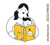 mom reading a book to her son.... | Shutterstock .eps vector #2022198650
