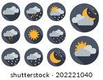 weather vector icons. flat... | Shutterstock .eps vector #202221040