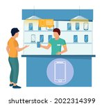 man buying new cell phone.... | Shutterstock .eps vector #2022314399