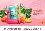 3d tequila sunrise ad. concept... | Shutterstock .eps vector #2022325646
