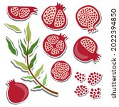 ten flat elements pomegranate... | Shutterstock .eps vector #2022394850