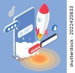 isometric app store... | Shutterstock .eps vector #2022420833