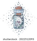 a witch's potion bottle with...   Shutterstock .eps vector #2022512093