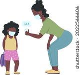 teacher taking child...   Shutterstock .eps vector #2022566606
