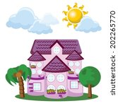 cartoon background with cute... | Shutterstock .eps vector #202265770