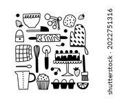 baking utensils doodle set.... | Shutterstock .eps vector #2022751316