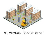 isometric automated warehouse... | Shutterstock .eps vector #2022810143