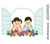 dreaming boy and girl looking... | Shutterstock .eps vector #202283020