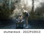 a woman washes her child from...   Shutterstock . vector #2022910013