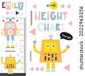 kids height meter with cute...   Shutterstock .eps vector #2022963356