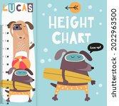 kids height chart with cute...   Shutterstock .eps vector #2022963500