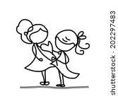 hand drawing cartoon concept... | Shutterstock .eps vector #202297483